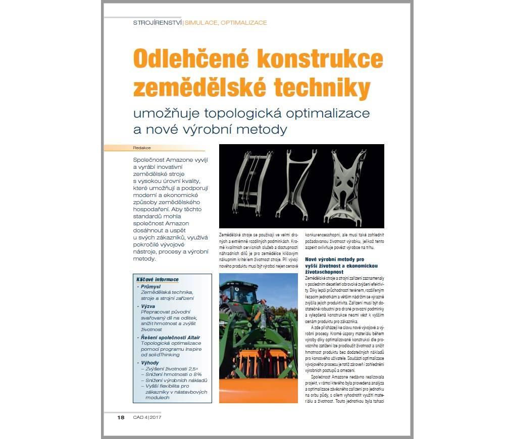 Odlehčené konstrukce zemědělské techniky umožňuje topologická optimalizace anové výrobní metody