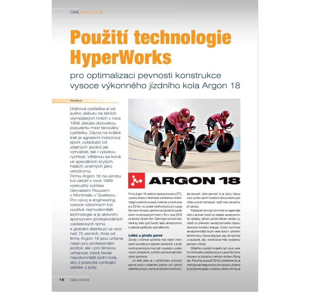 Použití technologie HyperWorks® pro optimalizaci pevnosti konstrukce závodního kola Argon 18