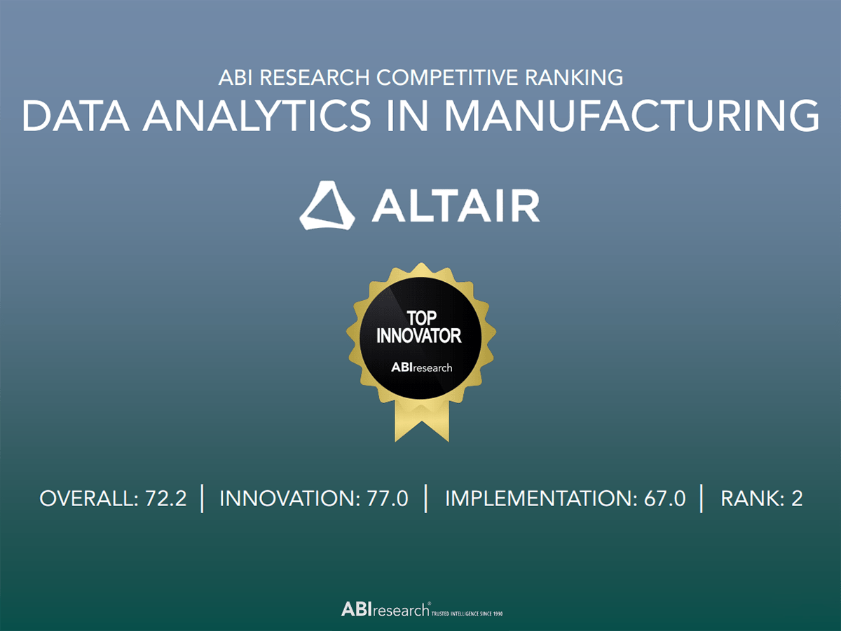 ABI Research Competitive Ranking: Altair Named a Top Innovator for Data Analytics in Manufacturing
