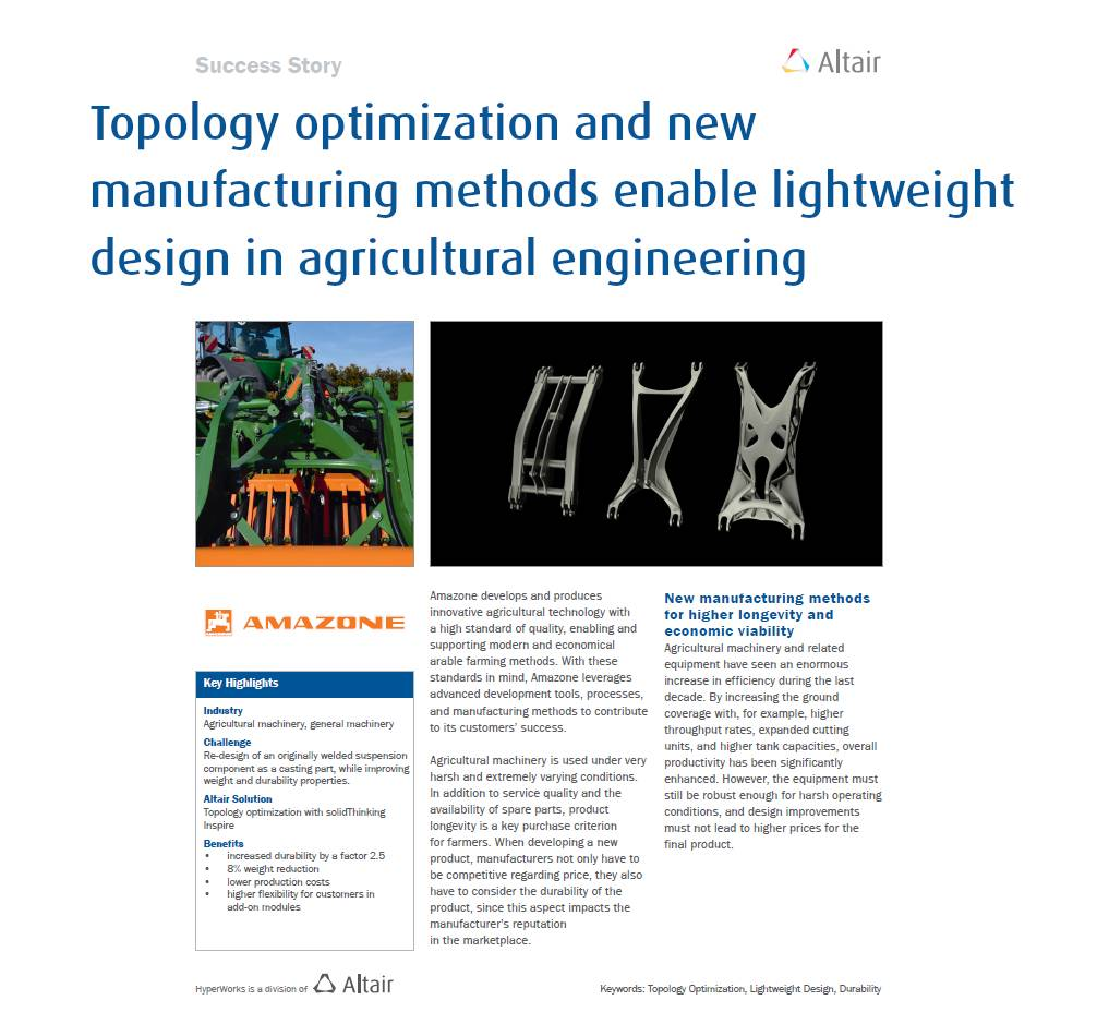Topology optimization and new manufacturing methods enable lightweight design in agricultural engineering