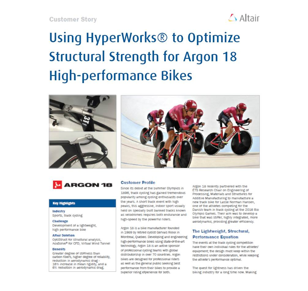 Using HyperWorks® to Optimize Structural Strength for Argon 18 High-performance Bikes