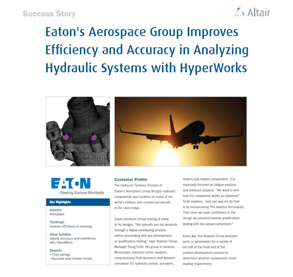 Eaton's Aerospace Group Improves Efficiency and Accuracy in Analyzing Hydraulic Systems with HyperWorks
