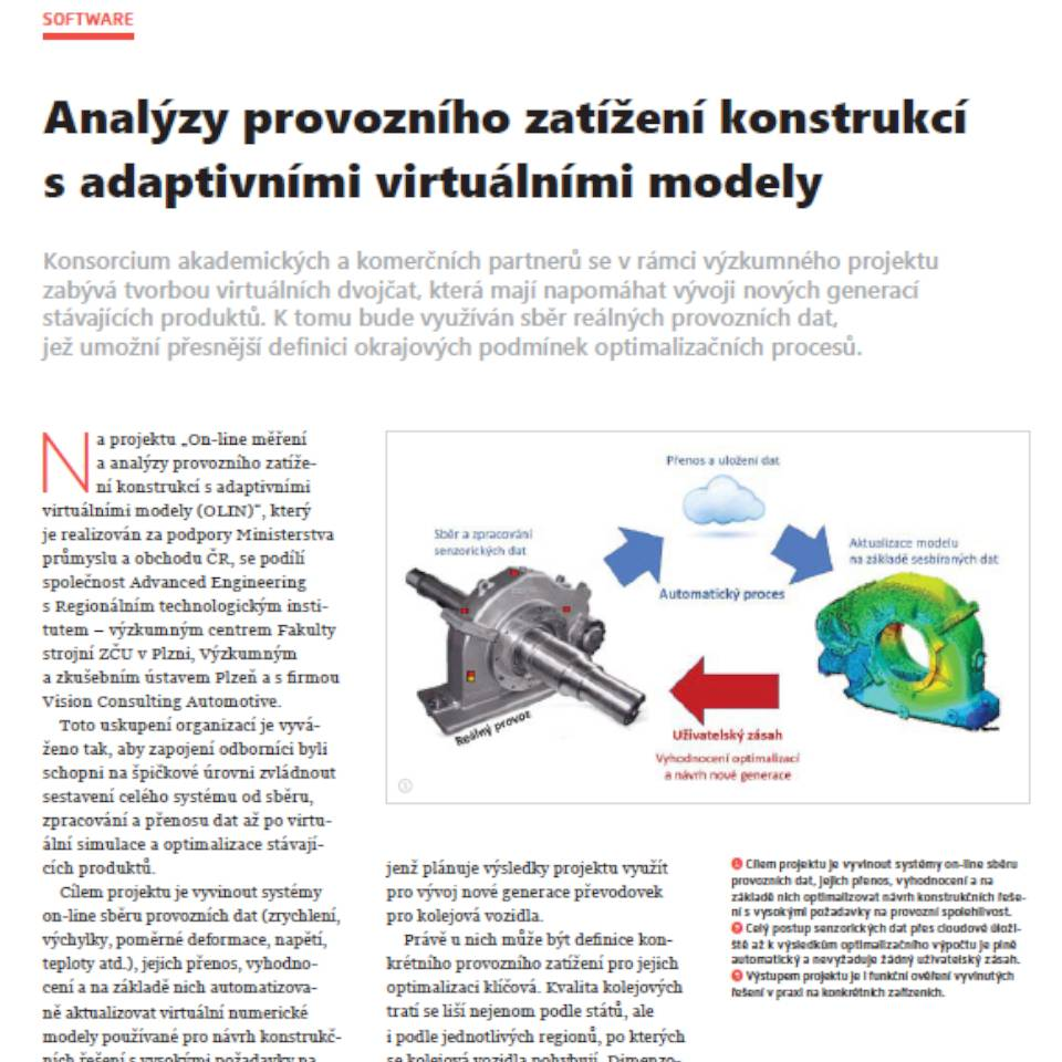 Operational load analyzes of structures with adaptive virtual models (CZ)
