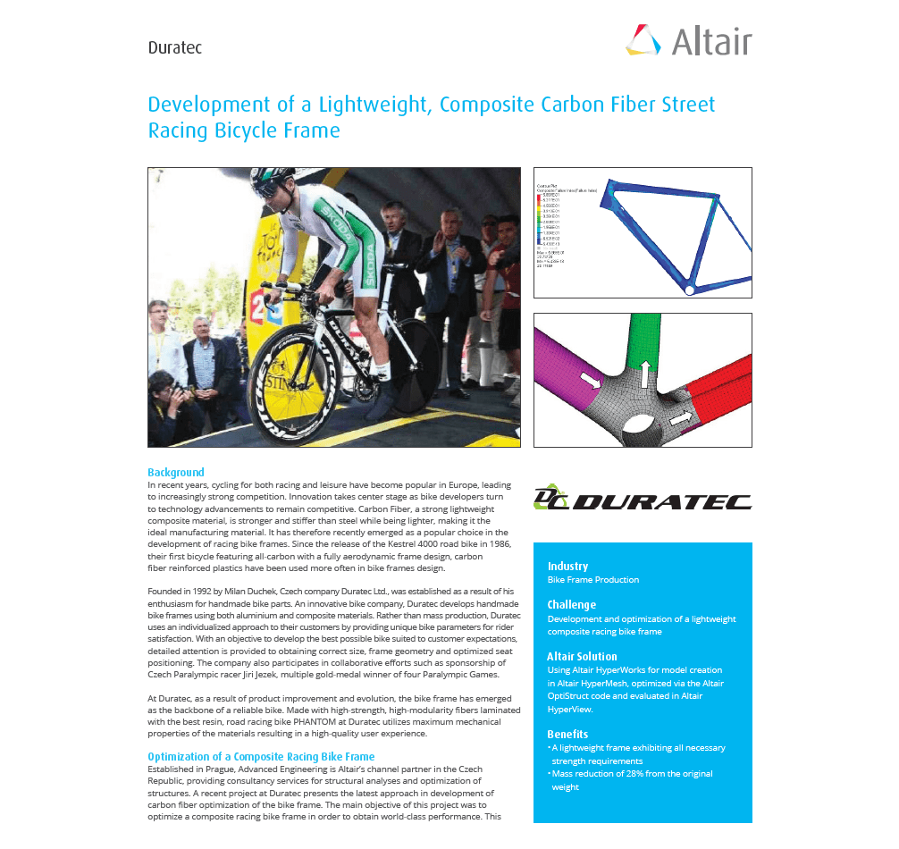 DURATEC – Development of aLightweight, Composite Carbon Fiber Street Racing Bicycle Frame